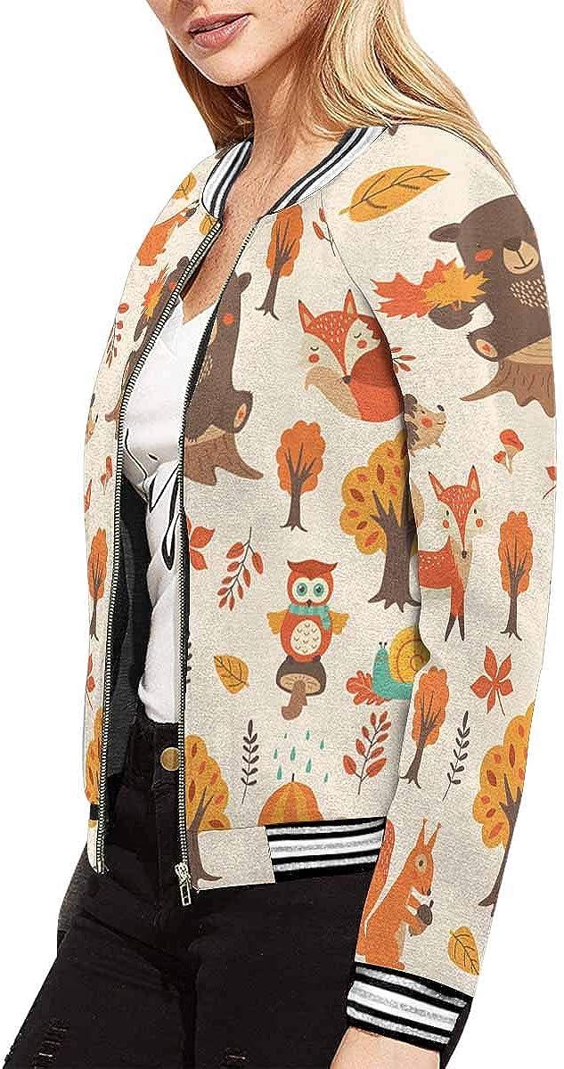 INTERESTPRINT Womens Zip Up Baseball Jacket Long Sleeves Short Blazer Outfit
