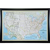 Craig Frames Wayfarer, Classic United States Push Pin Travel Map, Contemporary Wide Black Satin Frame and Pins, 24 by 36-Inch
