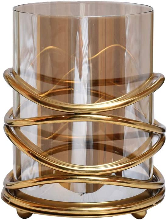 Decozen Metal and Glass Decorative Candle Holder in Swirl Design for Living Room Bed Room Center Table Side Tables Home Decor Accents