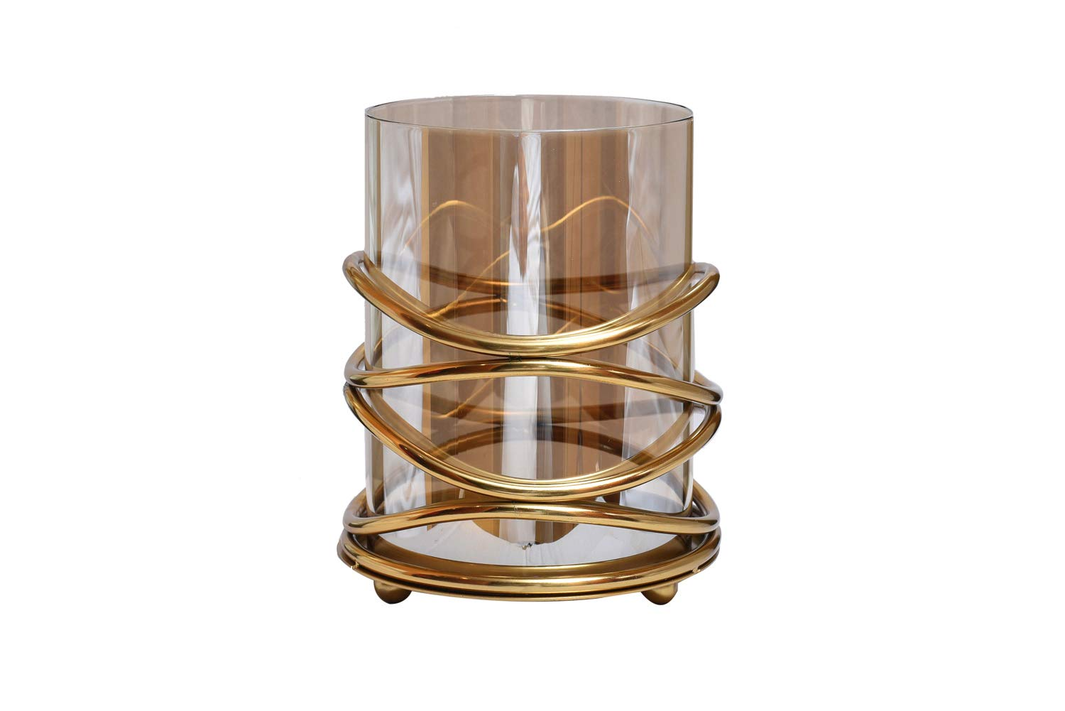 Decozen Metal and Glass Decorative Candle Holder in Swirl Design for Living Room Bed Room Center Table Side Tables Home Decor Accents by Decozen