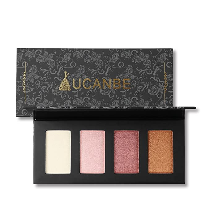 4 Color Highlighter Makeup Palette Illuminating Bronzers Contour Powder Kit (# 1)