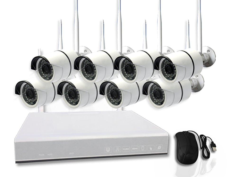 8 x 850nm HD Kameras / WLAN Videoüberwachung / Funk Kamera / IP Kamera / Komplettsystem Überwachung / deutscher Server
