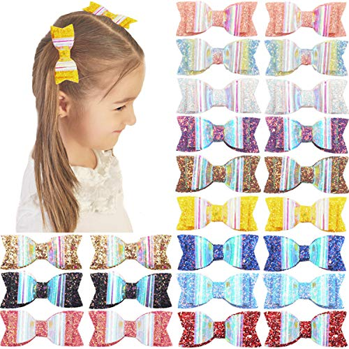 DeD 24 Pieces 3 Inch Glitter Hair Bow Clips Boutique Alligator Hair Clips Sparkly Hair Bows for Girls Teens Kids (12 Pair)