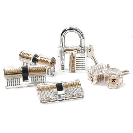 1553/5000 6pcs Set de cerradura de práctica OKPOW Cerradura Set de selección Crystal Visible