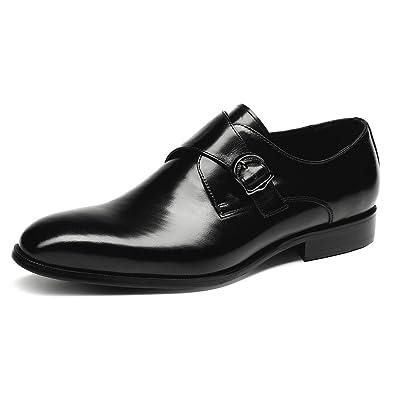 HANMCE 2017 New Monk ShoesGenuine LeatherRound Toe Single StrapLow Heel brown US6.0=EU38
