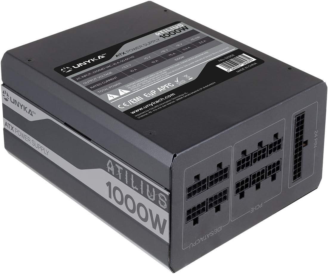 Unykach Atilius Fuente de alimentación (1000W, Full Modular, 87% eficiencia, 140mm) Color Negro