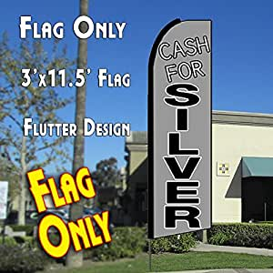 CASH FOR SILVER (Gray) Flutter Feather Banner Flag (11.5 x 3 Feet)