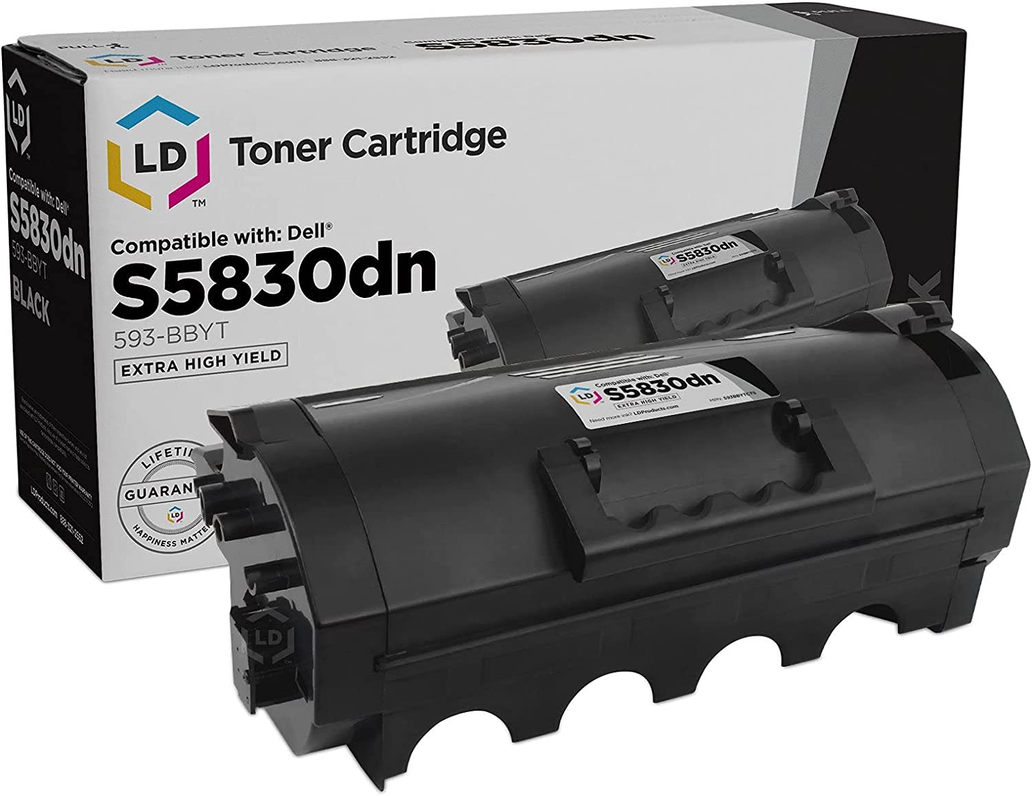 LD Compatible Toner Cartridge Replacement for Dell Laser S5830dn 593-BBYT Extra High Yield (Black)