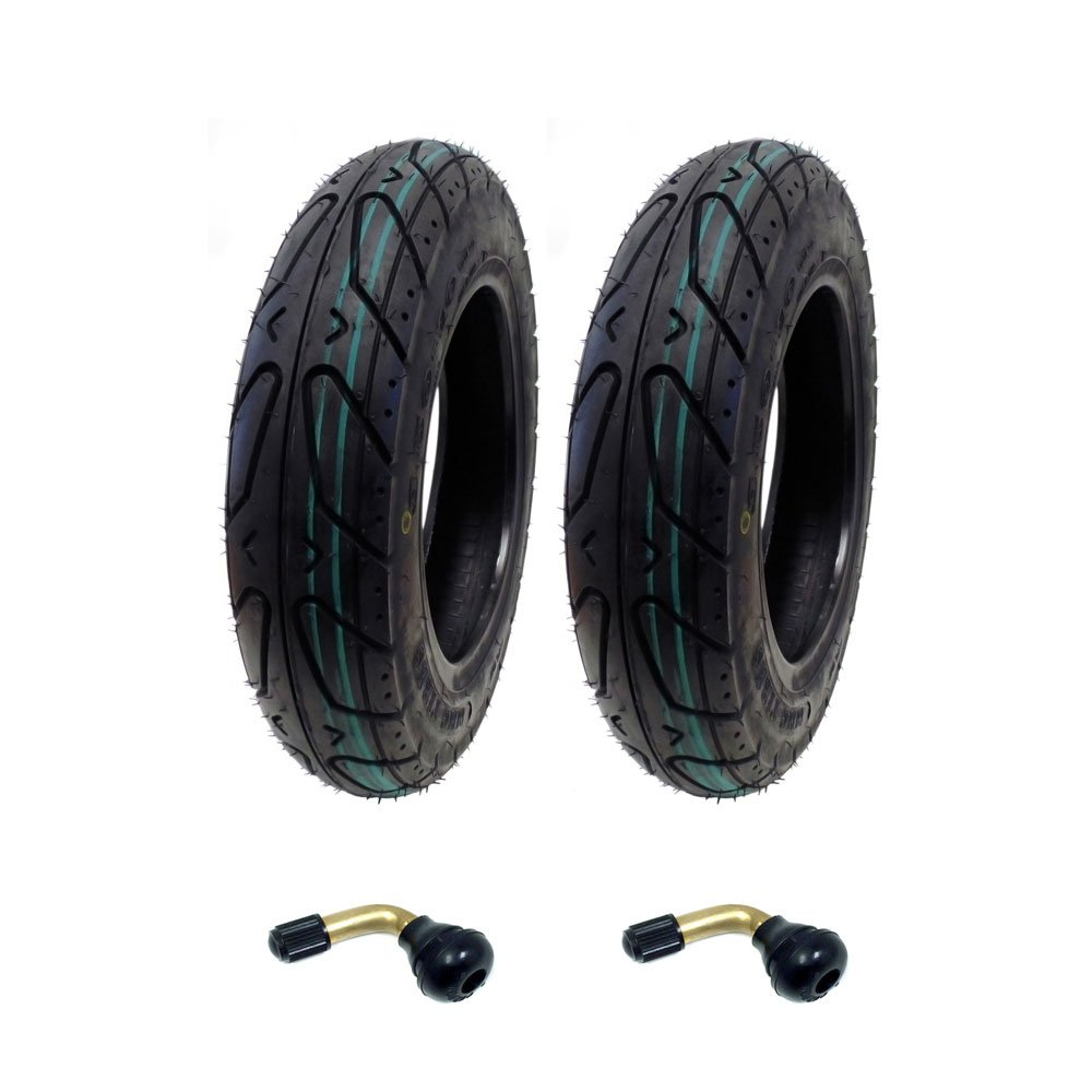 MMG Set of 2 Scooter Tubeless Tire 3.50-10 Compatible with Adly Bintelli Breeze 50 and Sprint 50 and compatible with other 50cc Scooters, Includes 2 TR87 Bent Valve Stems by MMG