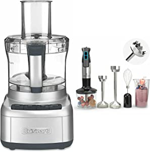 Cuisinart FP-8SV Elemental 8-Cup Food Processor (Silver) with 9-Speed Immersion Hand Blender Bundle (2 Items)