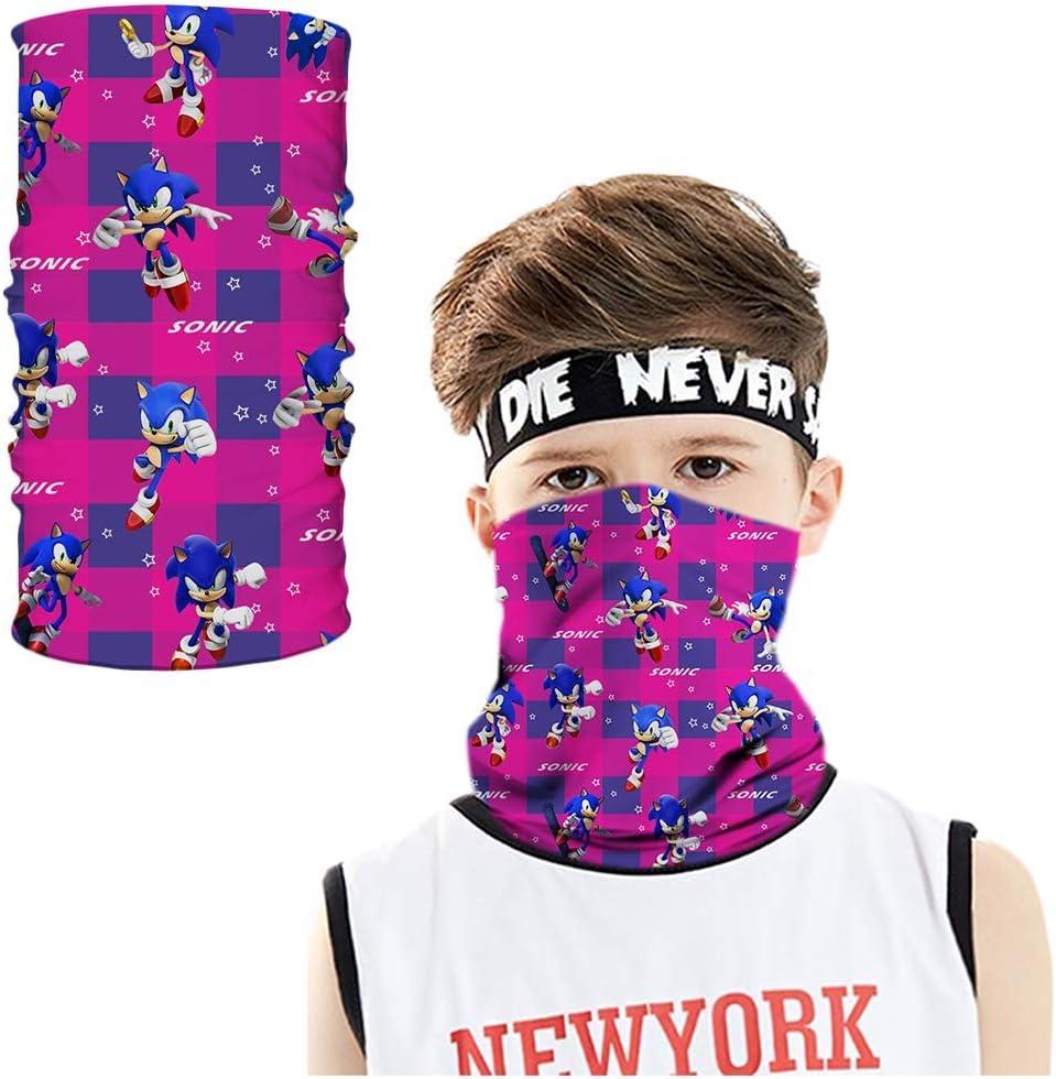 store Kids Sonic Face Mask Bandana Neck Gaiter Cooling Breathable Balaclava Scarf Dust UV Protection for Boys Girls Reid