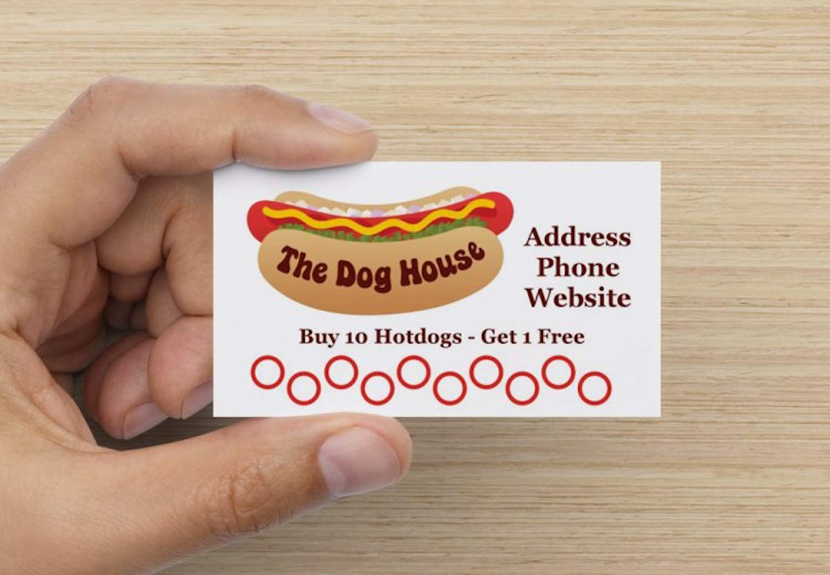Customize YOUR COMPANY Hotdog, Sausage Shop Loyalty Punch Business Cards Personalized with your business info (5000)
