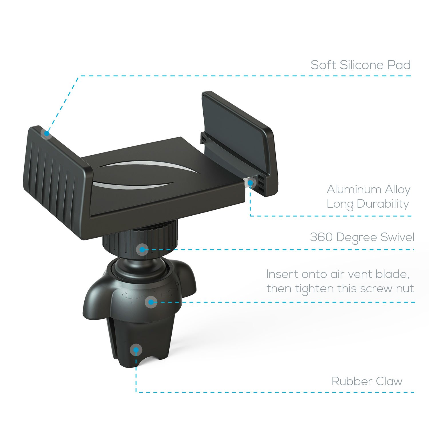 APPS2Car Sturdy Air Vent Car Phone Mount w//Twist Screw Nut Adjustable Mount Base Compatible with iPhoneXs Max 8//8Plus 7//7Plus 6s Plus Samsung Galaxy S9 S8 S6//S7 Edge S5 Note 9 8 5 A9 LG G5 Xperia ZX2 Wiiki-Tech 4333126641