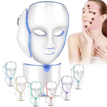 Mascarilla LED Máscara de terapia de luz de 7 colores Colágeno, antienvejecimiento, ajuste, cicatrización, belleza blanqueadora Mascarilla LED con ...