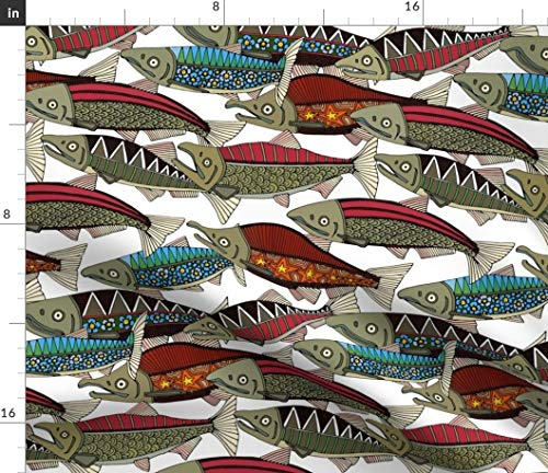 Salmon Fabric - Abstract Decorative Fish Salmon Indie Home Decor Salmon Alaska Fish Fishing Print on Fabric by The Yard - Organic Cotton Knit for Baby Blankets Clothing Apparel T-Shirts