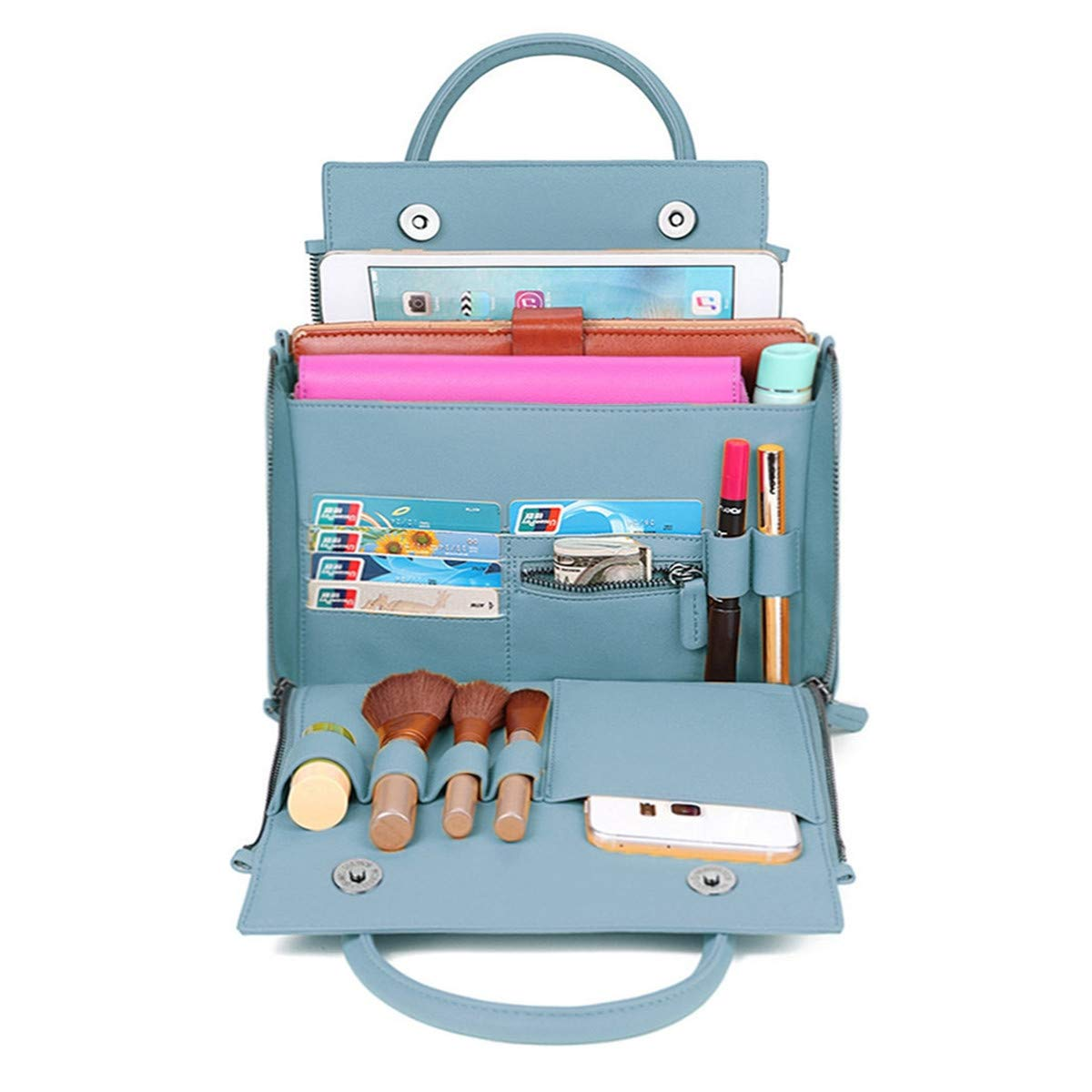 Brenice Travel Makeup Bag, Women Solid Cosmetic Handbag Capacity Bag Multifunction Crossbody Bag Blue 9.25''x 4.75''x 6.5''