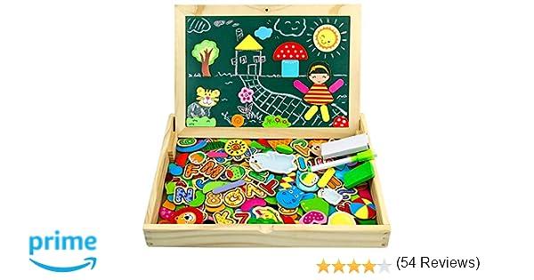 jerryvon Puzzle Magnetico Niños 160 Piezas de Madera Pizarra Magnética Infantil con Rompecabezas Caja Juguete Educativo Puzzle de Animales Regalos ...