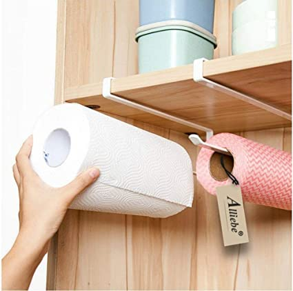 2pcs Space Saving Paper Towel Holder Dispenser Under Cabinet Paper Roll Holder Rack Without Drilling For Kitchen Bathroom Bathroom Fixtures