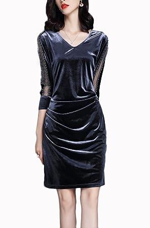 Good dress Vintage Terciopelo Costura V-Cuello de Manga Larga Pantalones Hip-Back Vestido