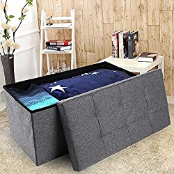 "epeanhome Storage Ottoman,Folding Storage Bench, Linen-like Fabric Foldable Stool Thickening Sponge Livingroom 29 7/8"" (Gray-Deep linen)"