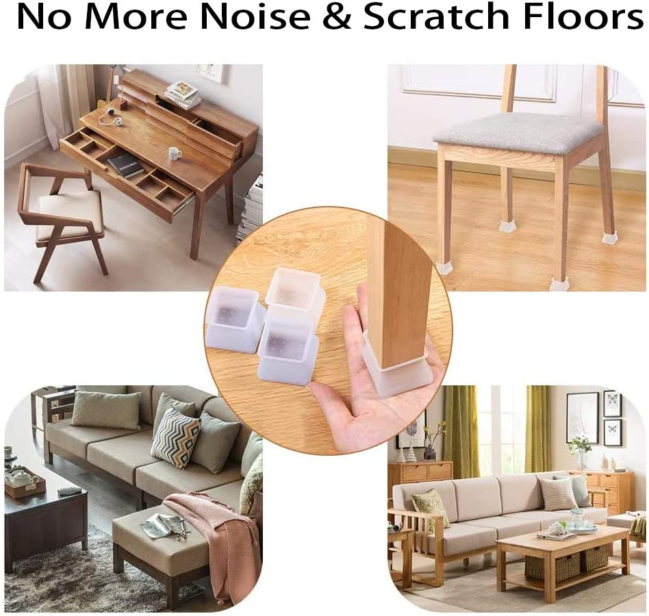 32Pcs Chair Leg Protectors Square Silicone Furniture Protection Cover Chair Leg Caps Floor Protectors for Dia 35-45mm Prevent Scratches and Noise Without Leaving Marks