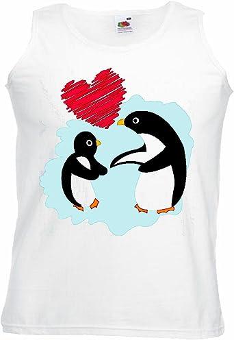 Camisa del músculo Tank Top Dos Amantes PINGÜINOS PINGÜINOS con EL CORAZÓN Vogel Aves Aves Marinas Penguin Especies Manga en Blanco: Amazon.es: Ropa y accesorios