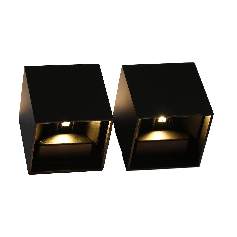 Topmo 2 pezzi 12w da parete a LED bianco caldo 2700K lampada da parete di Kelvin qualità alluminio Lampada Esterna da parete Su e Giù design IP65 bianco [Classe di efficienza energetica A+] Topmo-plus
