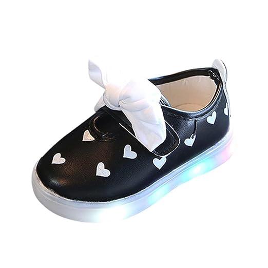 LED Zapatos de Verano Xinantime Zapatos para niños pequeños Bowknot Niños Bebé Corazón Zapatos Zapatillas Luminosas LED iluminadas 0-6 años (26, ...