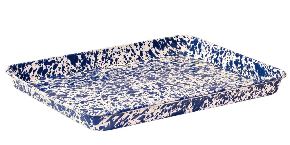Enamelware Jelly Roll Tray - Navy Blue Cream Marble
