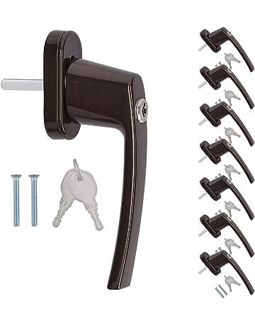 kwmobile 8x pomo de puerta con llave - Manilla puerta con cerrojo - Manija de seguridad