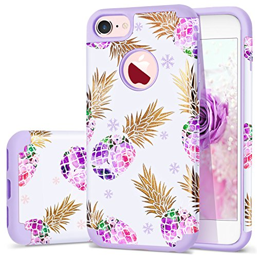 Pineapple iPhone 8 Case,iPhone 7 Case,Fingic Ultra Slim Floral Pineapple Cover Hard PC Soft Rubber Anti-Scratch Shockproof Protective Skin Cover for iPhone 7/iPhone 8,Flower Pineapple/Purple