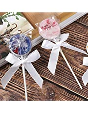 50 Pack White Satin Ribbon Twist Tie Bows for Treat Bags, Gift Bags, Bakery Candy Bags and Package Decorating Ribbon Bow, Bowknot for Gifts