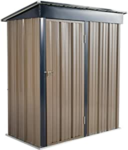 U-MAX 5' x 3' Outdoor Metal Storage Shed, Steel Garden Backyard Shed with Double Door & Lock