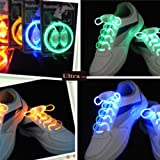 Ultra Mixed Pack of 2 Coloured Cool LED Bright Light Up Waterproof Shoelaces Shoe laces for Trainers Shoes Blue Pink Orange White Green Colours for Parties Events Running Walking Gifts Discos Party Favours UK Stock Fibre Optic Shoe Laces