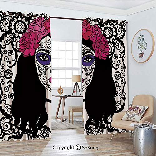 Blackout Window Curtains,Girl with Sugar Skull Make Up Dia De Los Muertos Traditional Art Decorative Living Room Bedroom Thermal Insulated Window Drapes 2 Panel Set, 54