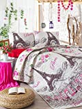 3 Pcs Soft Colored Full and Double Bedroom Bedding 65% Cotton 35% Polyester Double Quilted Bedspread Set 100% Fiber Filling Padded / Eiffel Tower Love Butterfly Flower Rose White Backgrond / Bedspread