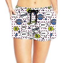 Comic Bubbles Pattern With A Pop Style Women's Swim Trunks Quick Dry Water Beach Board Shorts