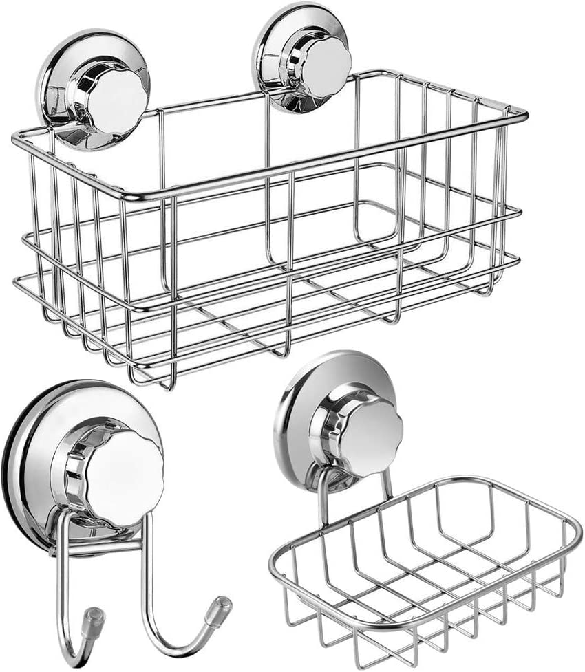 SANNO Suction Cups Shower Caddy Soap Dish Suction Hooks, Stainless Steel Bathroom Basket Bathroom Accessories Storage Organizer Wall Shelf Basket for Shampoo, Soap Dish Conditioner-set of 3