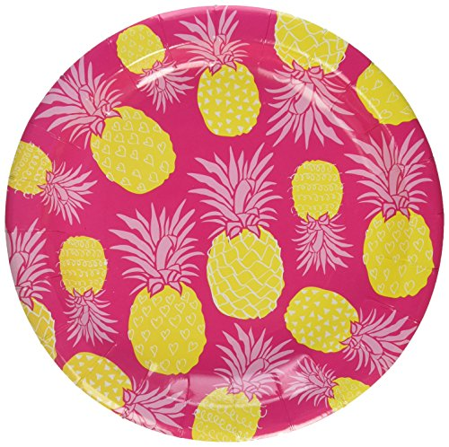 Ginger Ray Summer Fruits Pineapple & Hot Paper Party Plates, Pink (Fruits Plate)