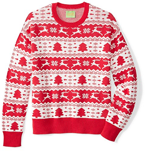 Ugly Fair Isle Unisex Jacquard Crewneck Christmas Sweater Small Red/White - Fair Isle Crewneck Sweater