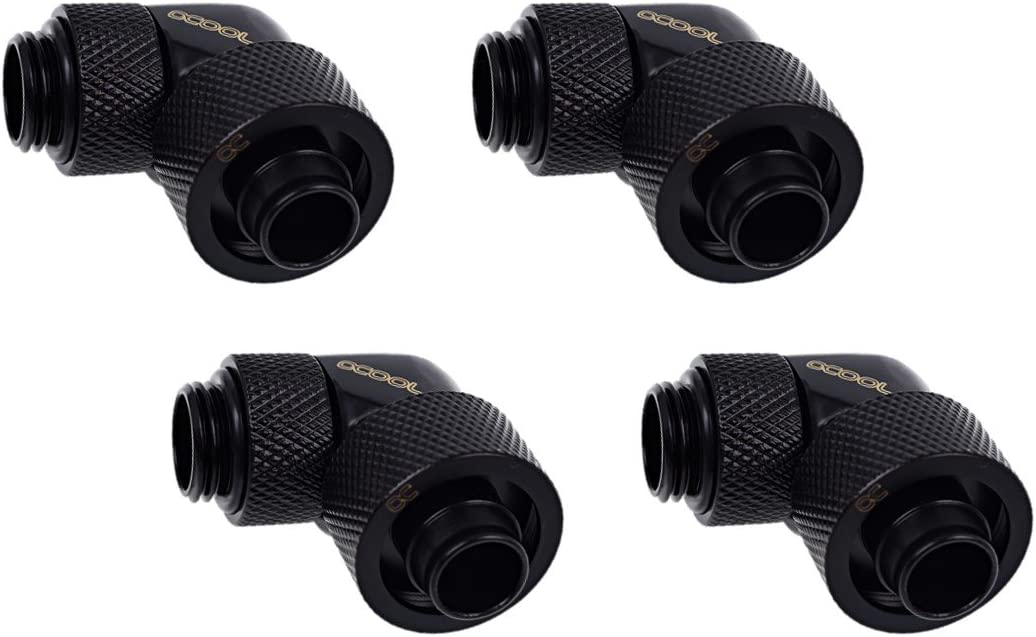 """Alphacool Eiszapfen G1/4"""" to 10mm ID, 16mm OD Compression Fitting for Soft Tubing, 90° Rotary, Deep Black, 4-Pack"""