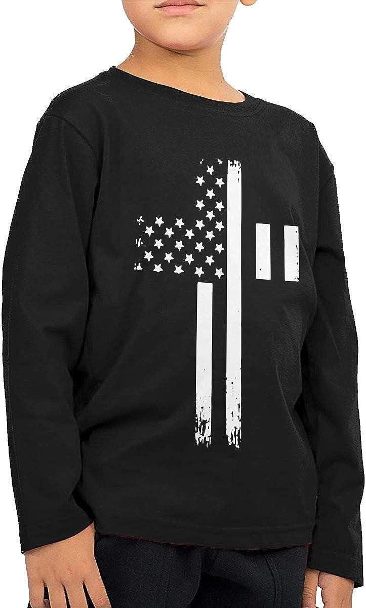 Baby Girls Little Boys Vintage USA Flag Cross ComfortSoft Long Sleeve T-Shirt
