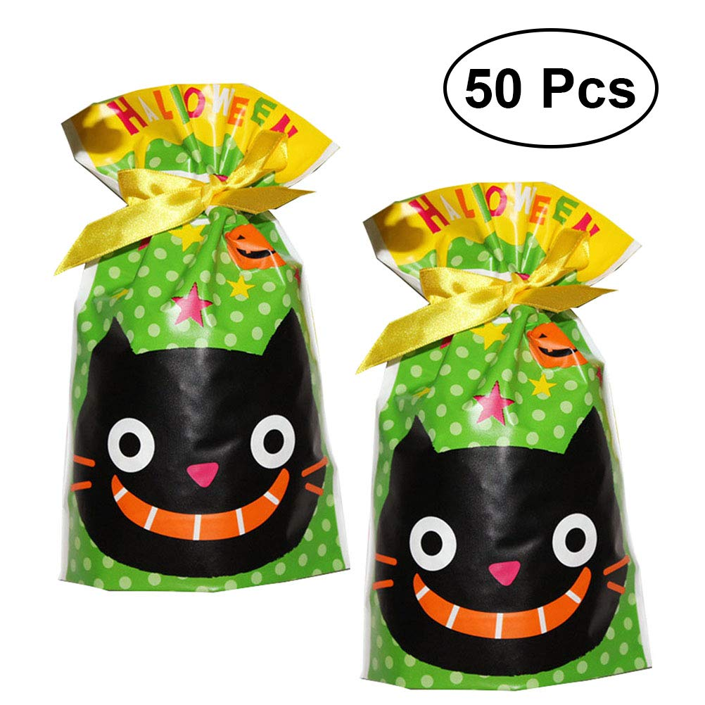 BESTONZON Set of 50 Halloween Party Holiday Trick Treat Tote Bag/Halloween Candy Totes Bag/Children Party Drawstring Gift Bag(Cat)