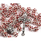 Red Zircon Crystals Beads Rosary Catholic Necklace Holy Soil Medal & Crucifix