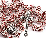 Best Nazareth Market Store Man Medallions - Red Zircon Crystals Beads Rosary Catholic Necklace Holy Review