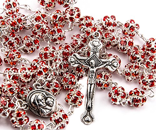 - Red Zircon Crystals Beads Rosary Catholic Necklace Holy Soil Medal & Crucifix