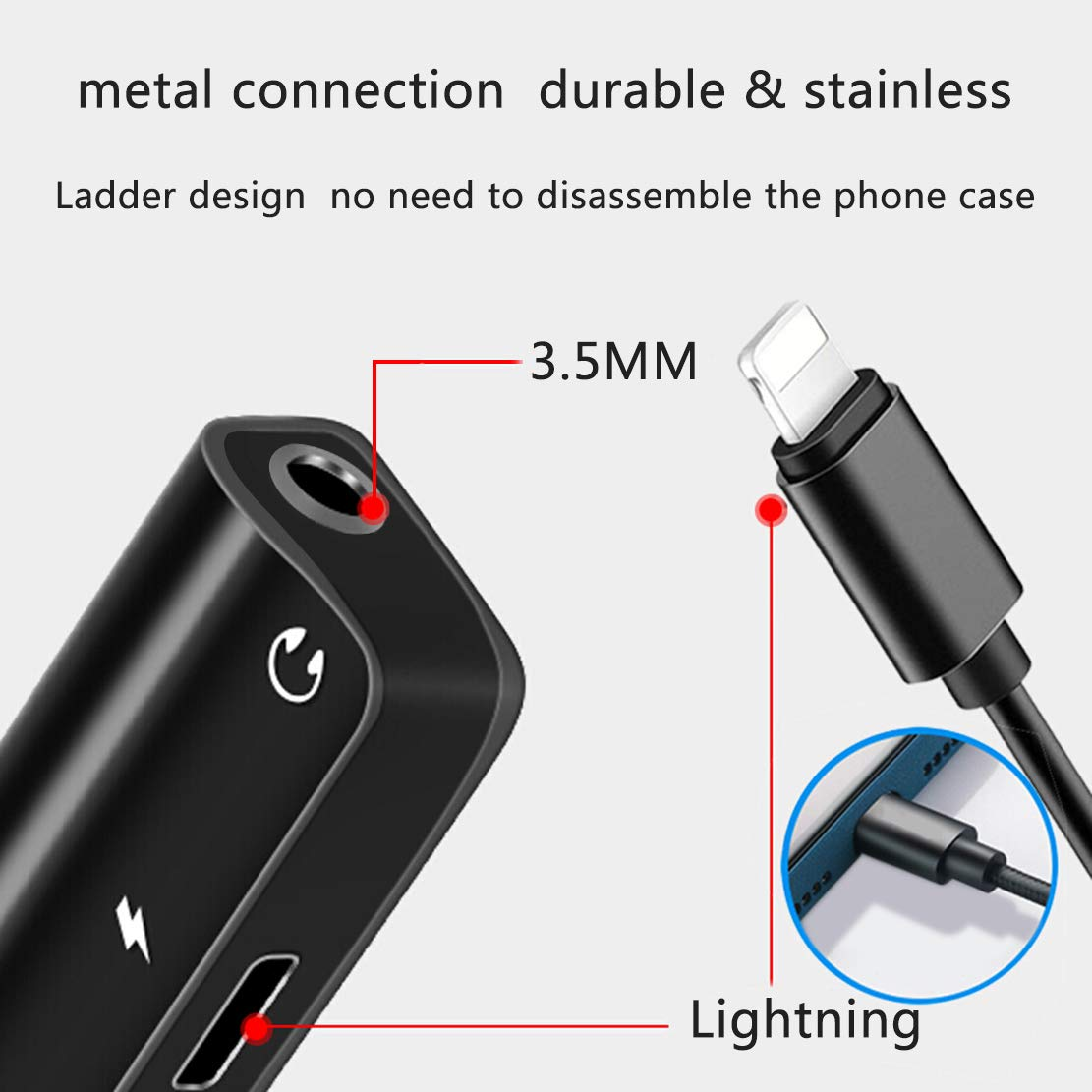 2 in 1 Earphone Audio Jack Splitter Cable Support for iPhone 7//7p//8//8p//X Dongle Accessory Connector Compatible iOS 10.3 or Later Headphone Adapter for iPhone Charger Jack 3.5 mm Jack Adapter