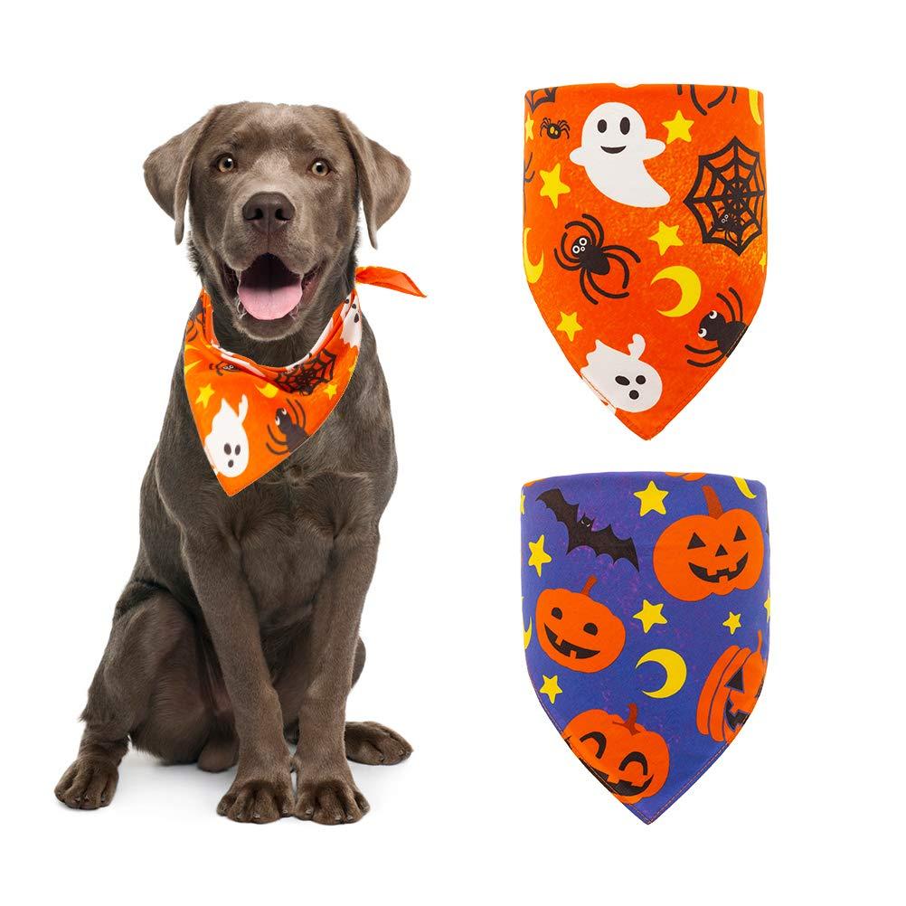 Halloween Dog Bandana Triangle Bibs with Pumpkin Bat Spider Ghost Pattern Washable Scarf Accessories Purple and Orange by EXPAWLORER