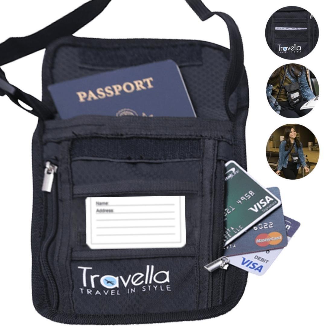 RFID Passport Holder Neck Wallet Anti-theft Document and Passport Travel Wallet Blocking Case with Neck Strap