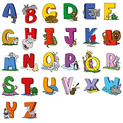 Educational Wall Sticker Animal Alphabet Art Letters - Set of 26 ABC Letter Decals to Decorate The Walls in Nursery or Kids Rooms - Attractive Funny Learning Tool for Creative Young Children